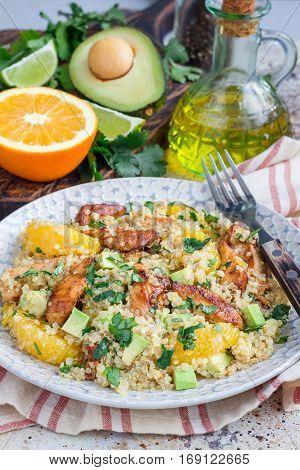 Quinoa orange and chicken salad tabbouleh vertical