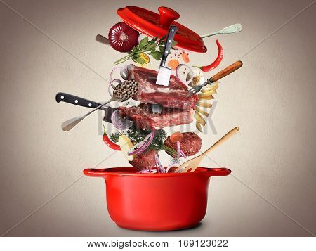 Meat and beef meatballs with vegetables and utensils