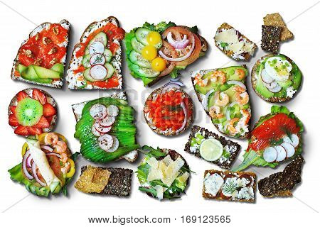Sandwiches with different breads and with different ingredients