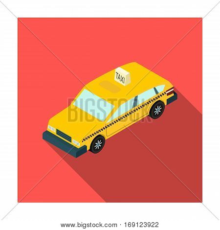 Taxi car icon in flat design isolated on white background. Transportation symbol stock vector illustration.