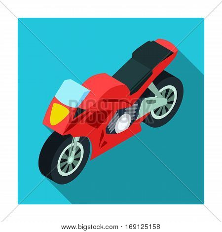 Motorcycle icon in flat design isolated on white background. Transportation symbol stock vector illustration.