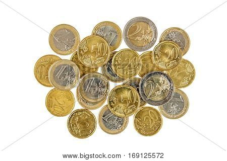 Pile of Euro coins isolated on white background.Top-view.