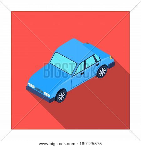 Car icon in flat design isolated on white background. Transportation symbol stock vector illustration.