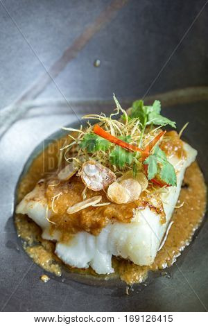 grilled snow fish with lemon grass sauce