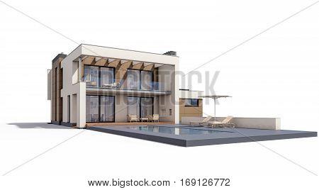 3D Rendering Of Modern Cozy House