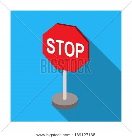 Stop road sign icon in flat design isolated on white background. Road signs symbol stock vector illustration.