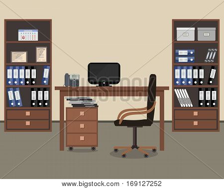 Workplace of office worker. There is a table, a chair, two cabinets with folders and other objects in the picture. Vector flat illustration