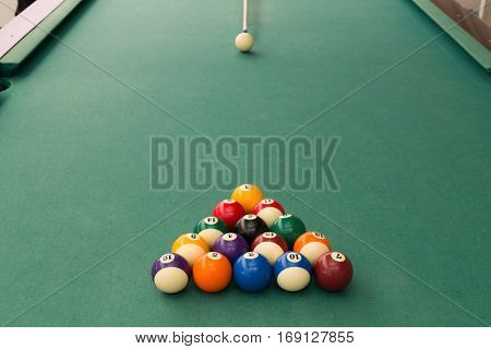 Cue Aiming White Ball To Break Snooker Billards On Table