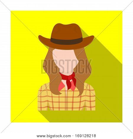 Cowgirl icon in flat design isolated on white background. Rodeo symbol stock vector illustration.