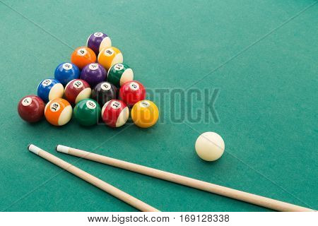Snooker Billards Pool Balls, Cue, Extender Stick On Green Table