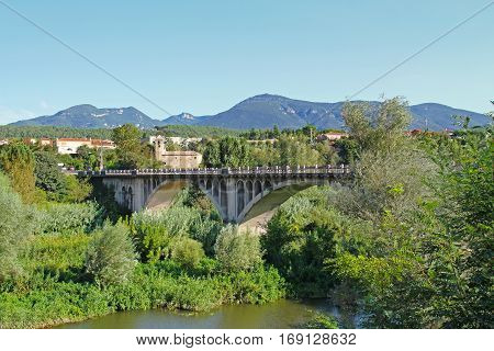 Bridge in spanish village of Besalu (Catalonia Spain)