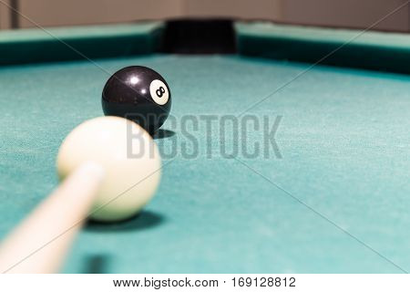 Cue Aiming Black Ball Into Snooker Billards Table Pocket