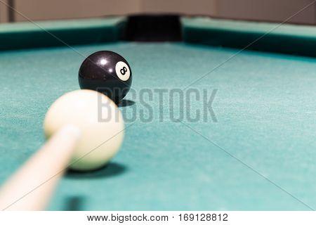 Cue Aiming Black Ball Into Snooker Billards Table Pocket
