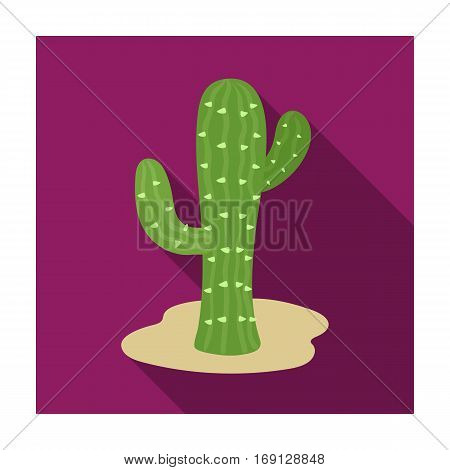 Cactus icon in flat design isolated on white background. Rodeo symbol stock vector illustration.