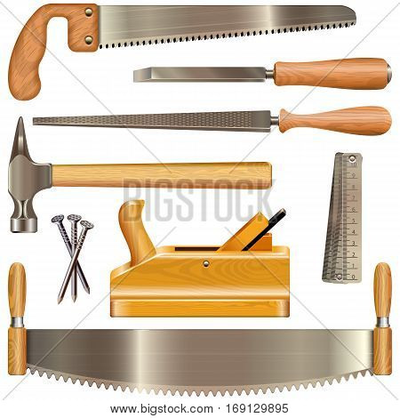 Vector Carpentry Tools isolated on white background