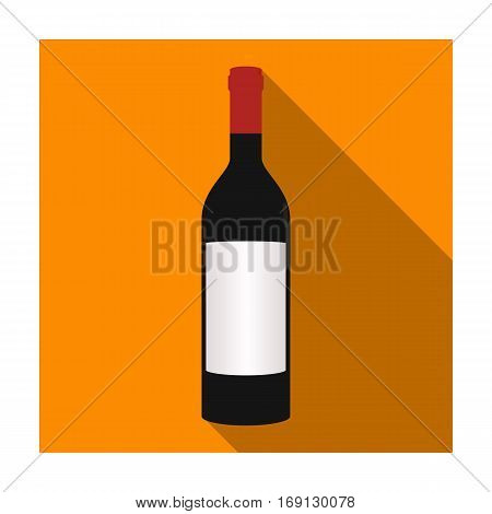 Bottle of red wine icon in flat design isolated on white background. Wine production symbol stock vector illustration.