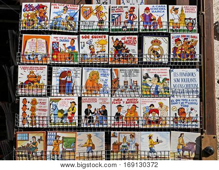 Besalu Spain - September 09 2014: Sale of tourist ceramic tiles in Besalu