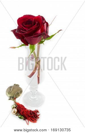 Two Roses Vase Metallic Pomegranate On White Valentines Day Composition