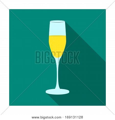 Glass of champagne icon in flat design isolated on white background. Wine production symbol stock vector illustration.