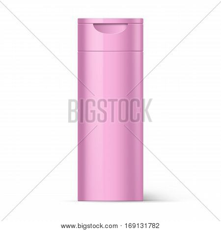 Pink Bottle of Shampoo Packaging Isolated over White Background