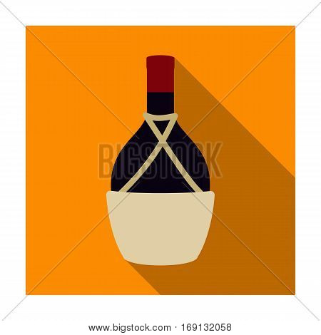 Bottle of wine icon in flat design isolated on white background. Wine production symbol stock vector illustration.