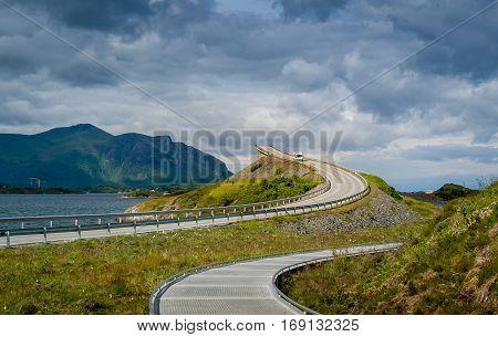 Popular viewpoint and pedestrian path at scenic Atlantic Road main bridge. Norway, Scandinavia.