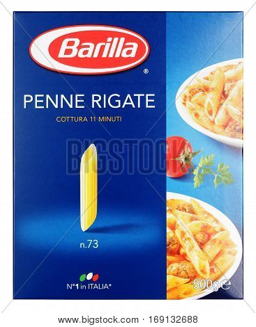 Front View Of Barilla Penne Rigate N.73 Italian Pasta Isolated On White Background