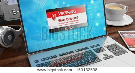 Virus Alert On A Laptop Screen. 3D Illustration