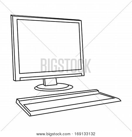 Computer icon in outline design isolated on white background. Architect symbol stock vector illustration.