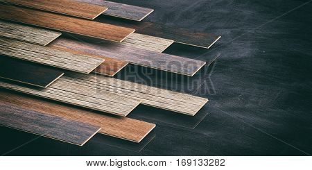 Laminate Floor On Black Background. 3D Illustration