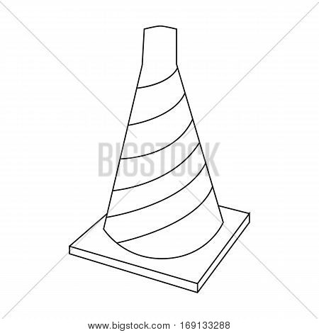 Traffic cone icon in outline design isolated on white background. Architect symbol stock vector illustration.