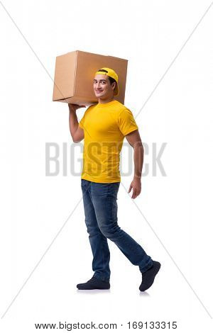 Funny delivery boy with box isolated on white
