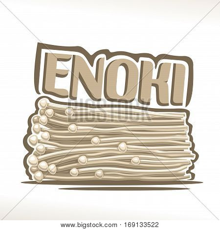 Vector logo Enoki Mushrooms: greenhouse fresh japanese mushrooms, cartoon still life with lettering title enoki, enokitake label organic edible fungi with text inscription, white flammulina velutipes.