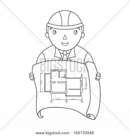 Architect with technical drawing icon in outline design isolated on white background. Architect symbol stock vector illustration.