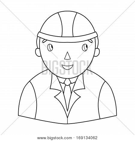 Architect icon in outline design isolated on white background. Architect symbol stock vector illustration.