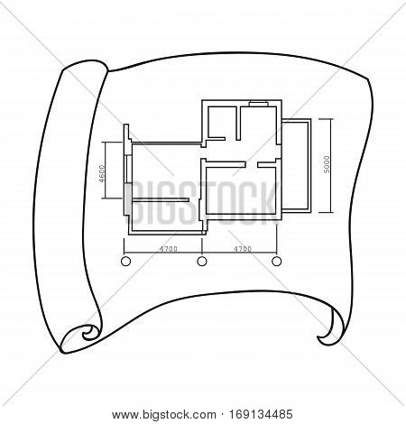 Technical drawing of house icon in outline design isolated on white background. Architect symbol stock vector illustration.