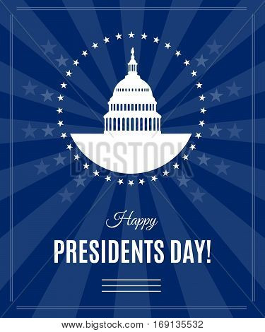 Presidents Day greeting banner with Washington DC White house and Capitol building arounded stars isolated on dark rays background. USA landmark. Vector illustration