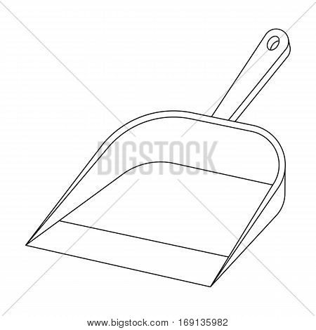 Dustpan icon in outline design isolated on white background. Cleaning symbol stock vector illustration.