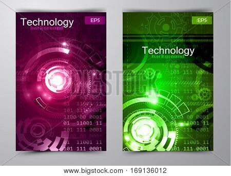 Abstract technology background could be used for brochure vector illustration in green and blue