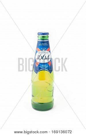 YATELEY, UK - FEBRUARY 6: Bottle of Kronenbourg 1664, a strong alcoholic beverage from the French Kronenbourg Brewery founded in 1664, now owned by the Carlsberg Group - Yateley, UK - February 6, 2017