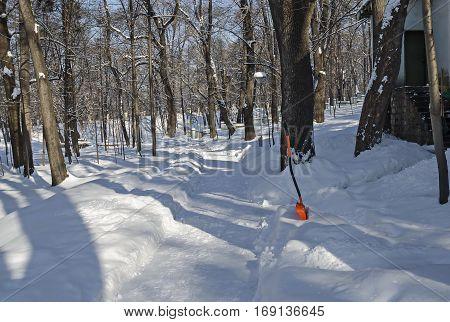 Shovel recently wintertime walk and shovel in park, Sofia, Bulgaria