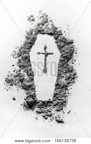 Casket silhouette sign with christian cross as a funeral graveyard cemetery death murder concept