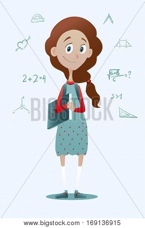 Vector illustration of a clever pry schoolgirl with book