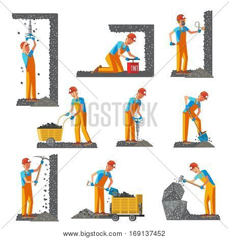 Miner people flat collection with industrial mining equipment in different situations isolated vector illustration
