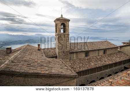 overview of roofs in an ancient village in Tuscany