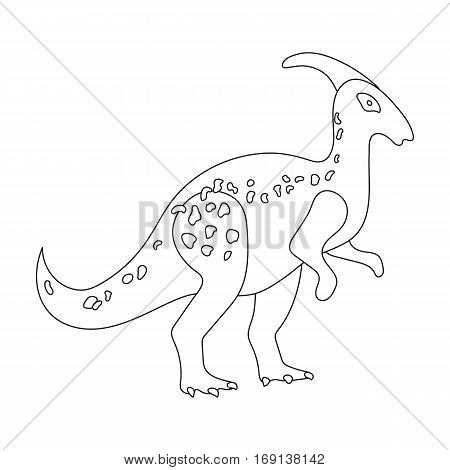 Dinosaur Parasaurolophus icon in outline design isolated on white background. Dinosaurs and prehistoric symbol stock vector illustration.