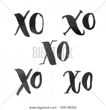 XO hugs and kisses hand drawn text calligraphy design. Vector Xoxoxo abbreviation acronym marker highlighter pen calligraphic font for love greeting card sign