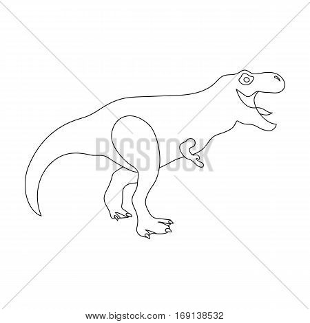 Dinosaur Tyrannosaurus icon in outline design isolated on white background. Dinosaurs and prehistoric symbol stock vector illustration.