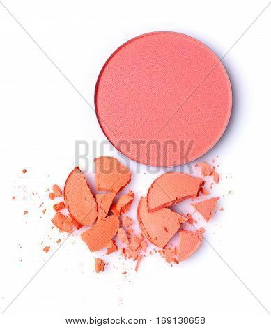 Round Orange Crashed Eyeshadow And Red Blusher For Makeup As Sample Of Cosmetics Product