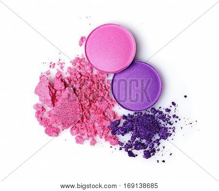Round Purple Crashed Eyeshadow For Makeup As Sample Of Cosmetics Product